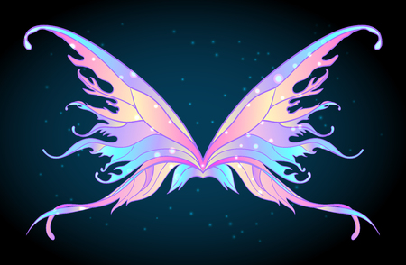 occultism: Pair of magical fairy wings. Hand-drawn vector illustration isolated. Trendy magic print, alchemy, mystery, divine goddess, spirituality, occultism. Rainbow colors. Halloween costume detail.