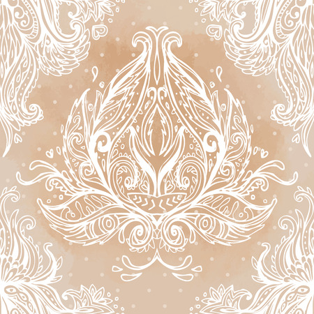 victorian wallpaper: Vintage baroque floral seamless pattern in beige. Ornate vector decoration. Luxury, royal and Victorian concept. Golden element isolated on white.