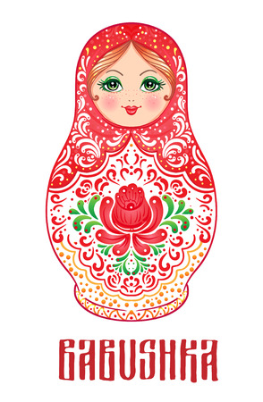 matreshka: Babushka (matryoshka), traditional Russian wooden nesting doll decorated with painted flowers. Folk arts and crafts. Vector illustration in cartoon style isolated on white. Retro Souvenir from Russia.