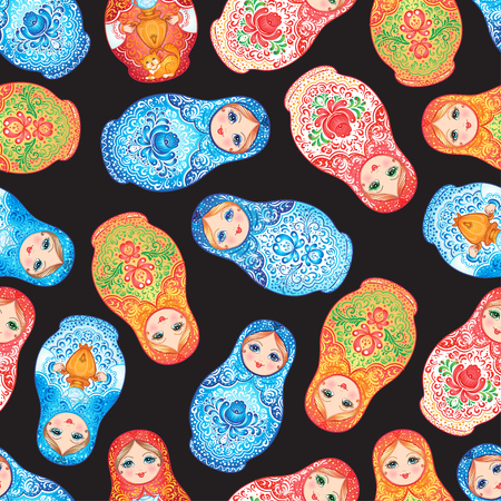 Babushka (matryoshka) seamless pattern. Traditional Russian wooden nesting doll with painted flowers. Folk arts and crafts. Vector illustration in cartoon style. Retro Souvenir from Russia Stock Illustratie