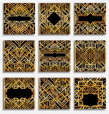 아트 데코 빈티지 패턴 및 프레임입니다. 레트로 파티 기하학적 배경 (1920 년대 스타일) 설정합니다. 글 래 머 파티, 주제 결혼식이나 섬유 인쇄 일러스트