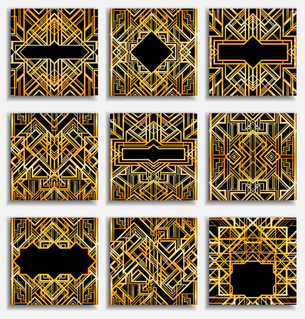 Art Deco vintage patterns and frames. Retro party geometric background set (1920s style). Vector illustration for glamour party, thematic wedding or textile prints.