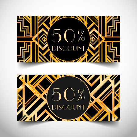 Gift voucher in luxury Art deco style. Vector discount card. Art Deco tiles. Abstract  vintage patterns and design elements. Retro  geometric background set (1920s style).