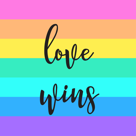 Equal love. Inspirational Gay Pride poster with rainbow and cloud. spectrum colors. Homosexuality emblem. LGBT rights concept. Sticker, patch, poster graphic design. Vector illustration.