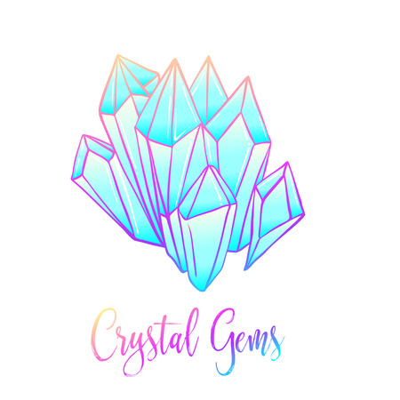 healing: Hand drawn crystal gems. Geometric shiny gemstone symbol. Trendy hipster background, logotype, tattoo design element. Colorful gradient. Isolated vector illustration. Pastel goth colors.