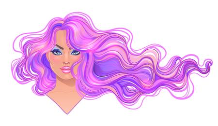 Mujer hermosa con el pelo teñido púrpura ondulado largo que fluye en el viento. Concepto de salón de pelo ilustración vectorial aislado. Retrato de una joven mujer de raza blanca. Concepto de moda Glamour. Ilustración de vector