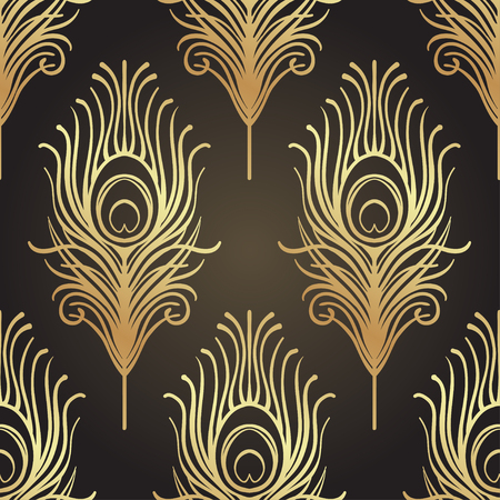 Art deco style geometric seamless pattern in black and gold. Vector illustration. Roaring 1920's design. Jazz era inspired . 20's. Vintage Fabric, textile, wrapping paper, wallpaper. Retro hand drawn. Stock Vector - 87434882
