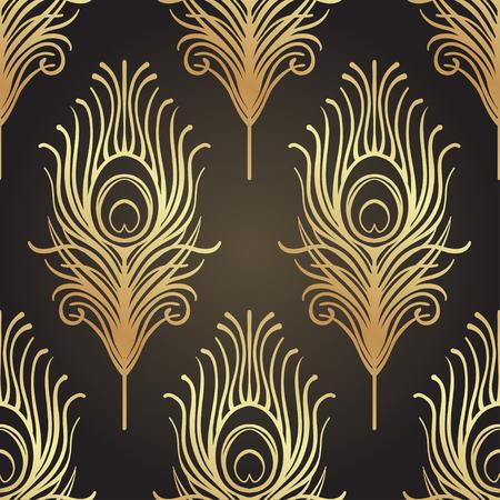 Art decostijl geometrisch naadloos patroon in zwart en goud. Vector illustratie. Roaring 1920's ontwerp. Jazz-tijdperk geïnspireerd. 20's. Vintage stof, textiel, inpakpapier, behang. Retro hand getrokken.