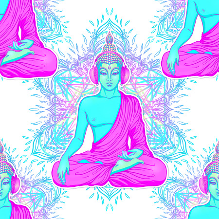 Modern Buddha listening to the music in headphones in neon colors isolated on white. Seamless pattern? Vector illustration. Vintage psychedelic composition. Indian, Buddhism, trance music.