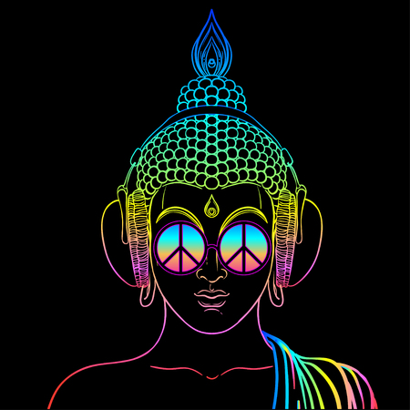 Peace and Love. Colorful Buddha in rainbow glasses listening to the music in headphones. Vector illustration. Hippie peace sign on sunglasses. Psychedelic concept. Buddhism, trance music. Esoteric art