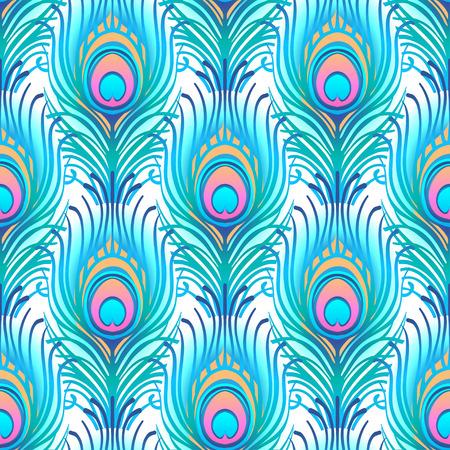 Modèle paon rose transparent vectorielle continue. Plumes abstraites de paon imprimé carrelé pour textile ou papier d'emballage. Dessinés à la main vintage linéaire beau modèle de dessin romantique Vecteurs