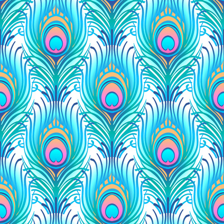 Pavo real patrón de vector transparente rosa pálido. Peafowl plumas abstractas de azulejos de impresión para textiles o papel de envolver. Mano dibujada vintage lineal romántico hermoso dibujo patrón Ilustración de vector