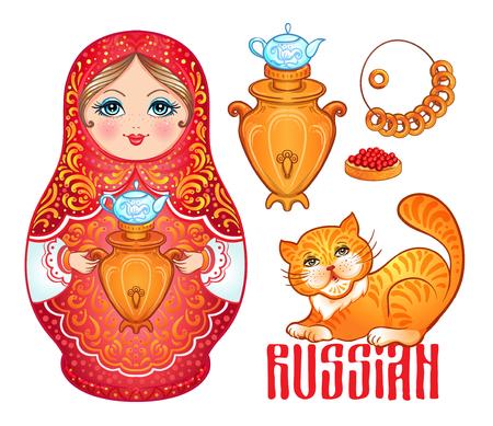muñecas rusas: Recuerdo retro de Rusia: babushka (matryoshka), gato rojo, samovar, bublik (panecillo). Muñeca de anidación de madera rusa tradicional. Artes populares y artesanías. Ilustración del vector en estilo de dibujos animados aislado.