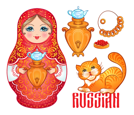 Retro Souvenir from Russia: babushka (matryoshka), red cat, samovar, bublik (bread roll). Traditional Russian wooden nesting doll. Folk arts and crafts. Vector illustration in cartoon style isolated.