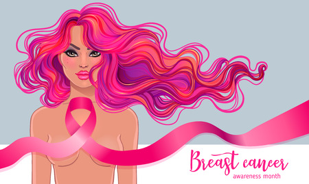 October: Breast Cancer Awareness Month, annual campaign to increase awareness of the disease. Woman with breast cancer awareness pink ribbon, vector illustration health, medicine, beauty concept Illustration