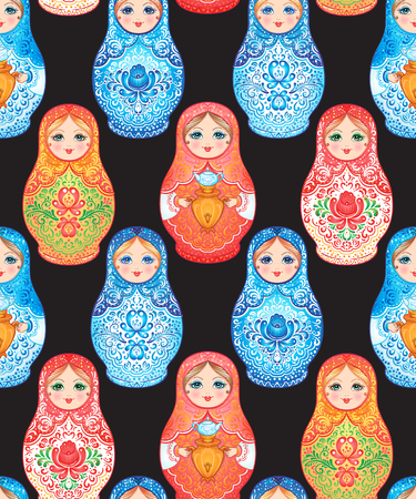 Babushka (matryoshka) seamless pattern. Traditional Russian wooden nesting doll with painted flowers. Folk arts and crafts. Vector illustration in cartoon style. Retro Souvenir from Russia 向量圖像
