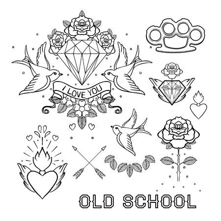 오래 된 학교 문신을 설정합니다. 클래식 벡터 문신 낙서 요소 : 꽃, 신성한 마음, 다이아몬드, 삼키기, 황동 너클. 전통적인 문신 스타일 컬렉션 그리기 일러스트