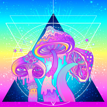 Magic mushrooms over sacred geometry. Psychedelic hallucination. Vibrant vector illustration. 60s hippie colorful art. Sticker, patch, pin.