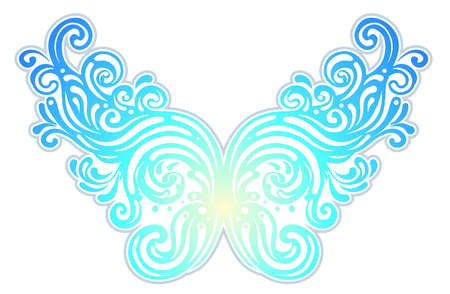 Pair of magical fairy wings. Hand-drawn vector illustration isolated. Trendy magic print, alchemy, mystery, divine goddess. Rainbow colors. Halloween costume detail. Sticker, pin, patch.
