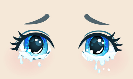 Colorful beautiful eyes in anime (manga) style with shiny light reflections.