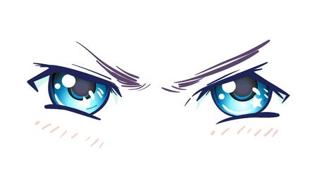 Colorful beautiful eyes in anime (manga) style with shiny light reflections