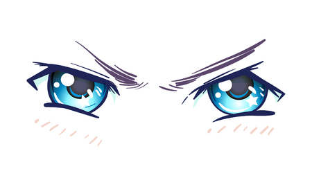 Colorful beautiful eyes in anime (manga) style with shiny light reflections