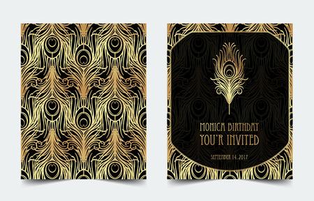 Art Deco vintage invitation template design with illustration of flapper girl.