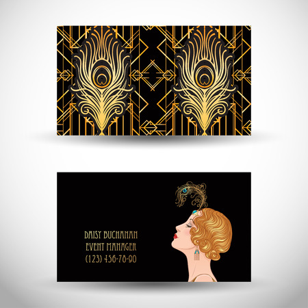 Art deco style business card for Vector illustration for glamour party, thematic wedding.