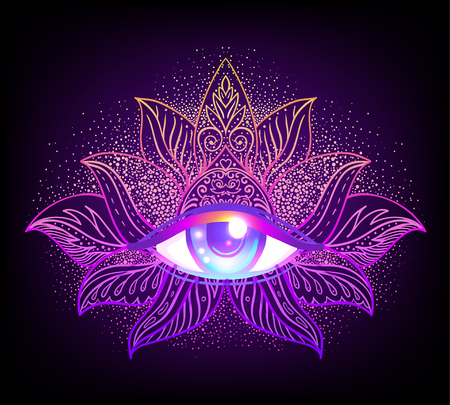 Sacred geometry symbol with all seeing eye over in acid colors. Vectores