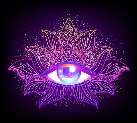Simbolo della geometria sacra con occhio che tutto vede nei colori acidi. Archivio Fotografico - 99612979