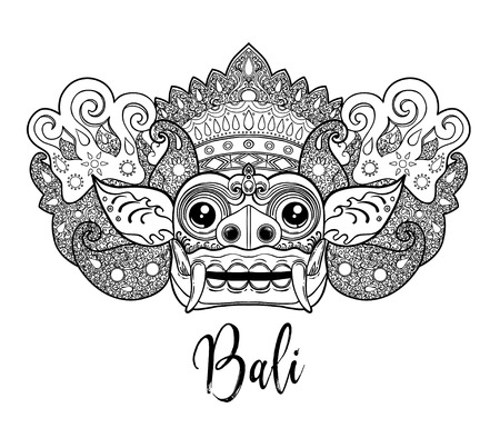 Traditional ritual Balinese mask Vector outline illustration for coloring book isolated.