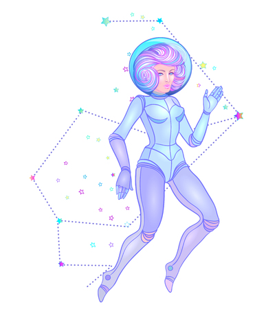Cute astronaut flying in space. Teen girl in space space suit, dyed purple hair and stars.