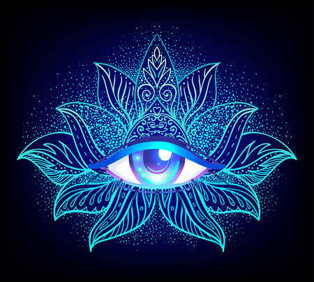 Sacred geometry symbol with all seeing eye over in acid colors. Stock Illustratie