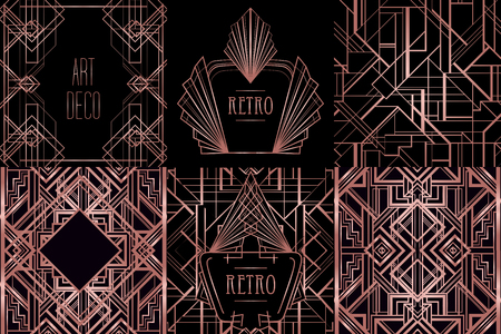 Art Deco vintage patterns and design elements. Retro party geometric background set in trendy rose gold metal. Vectores