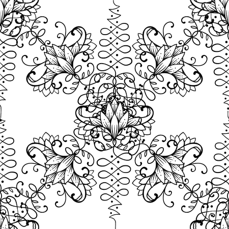 A Lotus and Sacred Geometry Seamless pattern. 矢量图像