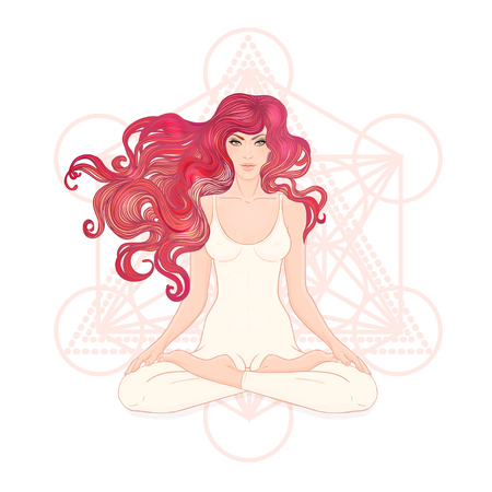 Beautiful Caucasian Girl with long curly red hair sitting in Lotus pose with ornate mandala on background.