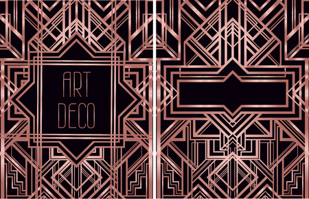 Art Deco vintage patterns and design elements for textile prints in trendy rose gold metal.