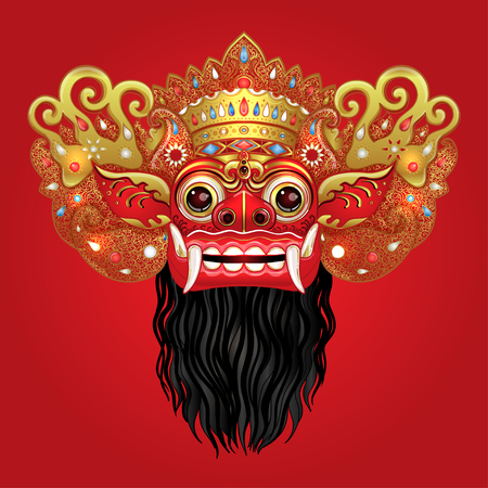 Traditional ritual Balinese mask. Vector color illustration in red, gold and black isolated.