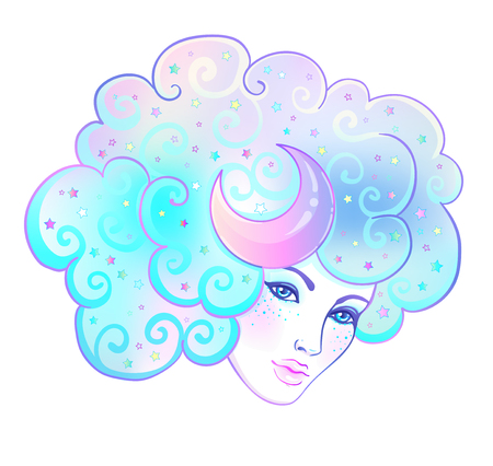 Girl with white hair, head in the clouds with moon and stars.