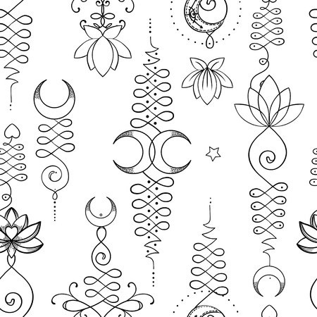 A Lotus and Sacred Geometry Seamless pattern. Иллюстрация