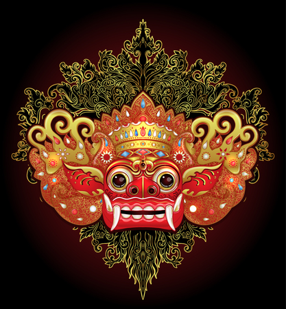 Barong Traditional ritual Balinese mask. Vector color illustration in red, gold and black isolated. Hindu ethnic symbol, tattoo art, yoga, Bali spiritual design for print, poster, t-shirt, textile. Çizim