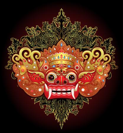 Barong traditioneel ritueel Balinees masker. Vector kleurenillustratie in geïsoleerd rood, goud en zwart. Hindoe etnisch symbool, tattoo kunst, yoga, Bali spiritueel ontwerp voor print, poster, t-shirt, textiel. Stockfoto - 99536094
