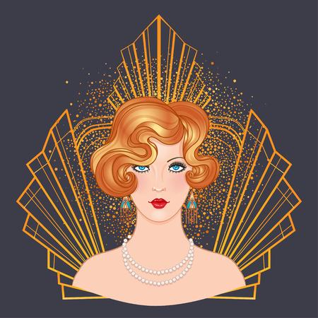 ●フラッパーガールのイラスト付きアールデコヴィンテージ招待テンプレートデザイン。パターンとフレーム。レトロなパーティーの背景セット(1920