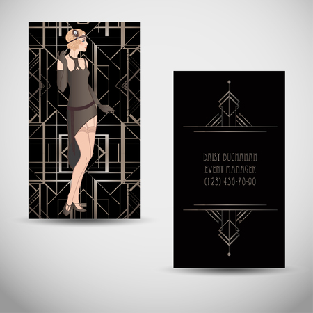 Art deco style business card. Sample Text. Abstract vintage patterns and flapper girl. Retro party geometric background set (1920's style). Vector illustration for glamour party, thematic wedding.