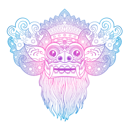 Barong Traditional ritual Balinese mask. Vector outline illustration for coloring book isolated. Hindu ethnic symbol, tattoo art, yoga, Bali spiritual design for print, posters, t-shirts, textiles.