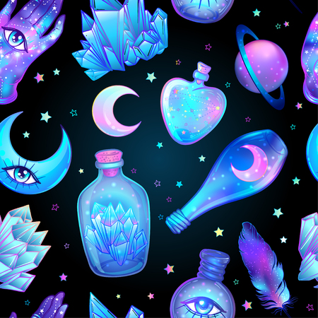 Vector seamless pattern with glass flasks. Magic potions: tubes and bottles. Wrapping paper. Titled illustration. Magical elements: moon, crystals, Saturn, Alchemy and vintage science. 矢量图像