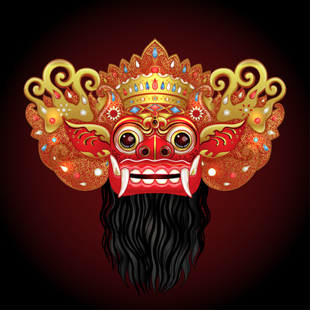 Barong Traditional ritual Balinese mask. Vector color illustration in red, gold and black isolated. Hindu ethnic symbol, tattoo art, yoga, Bali spiritual design for print, poster, t-shirt, textile. Illustration