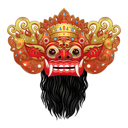 Barong. Traditional ritual Balinese mask. Vector color illustration in red, gold and black isolated. Hindu ethnic symbol, tattoo art, yoga, Bali spiritual design for print, poster, t-shirt, textile.