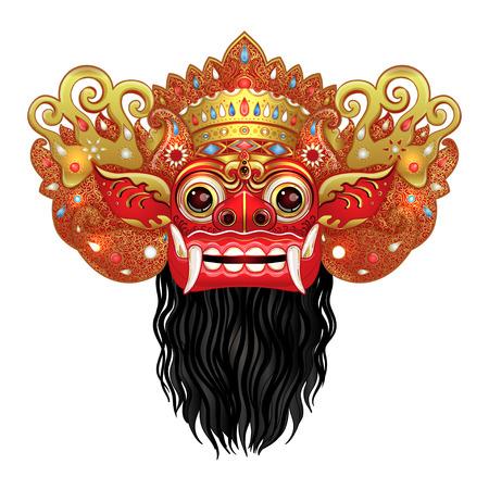 バロン。伝統的な儀式バリのマスク。赤、金、黒のベクターカラーイラスト。ヒンズー教の民族シンボル、タトゥーアート、ヨガ、印刷用バリのスピリチュアルデザイン、ポスター、Tシャツ、テキスタイル。