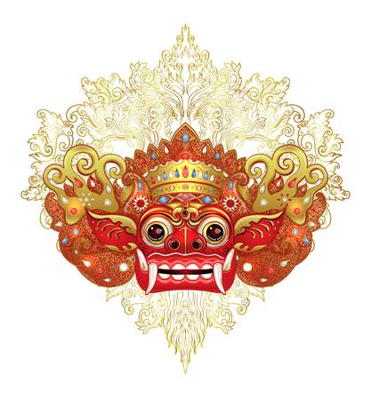 Barong. Traditioneel ritueel Balinees masker. Vector kleurenillustratie in geïsoleerd rood, goud en zwart. Hindoe etnisch symbool, tattoo kunst, yoga, Bali spiritueel ontwerp voor print, poster, t-shirt, textiel.